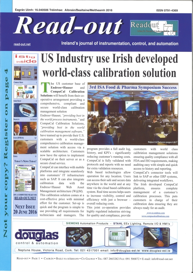 Read Out features CompuCal and Endress+Hauser